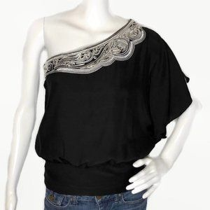 NWT WHBM EMBROIDERED FLUTTER SLEEVE SILK BLOUSE 2